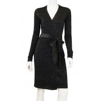 Wool Sparkle Wrap Sweater Dress