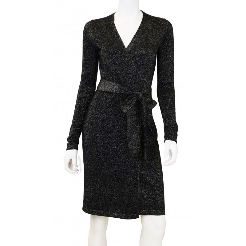 Wool Sparkle Wrap Sweater Dress