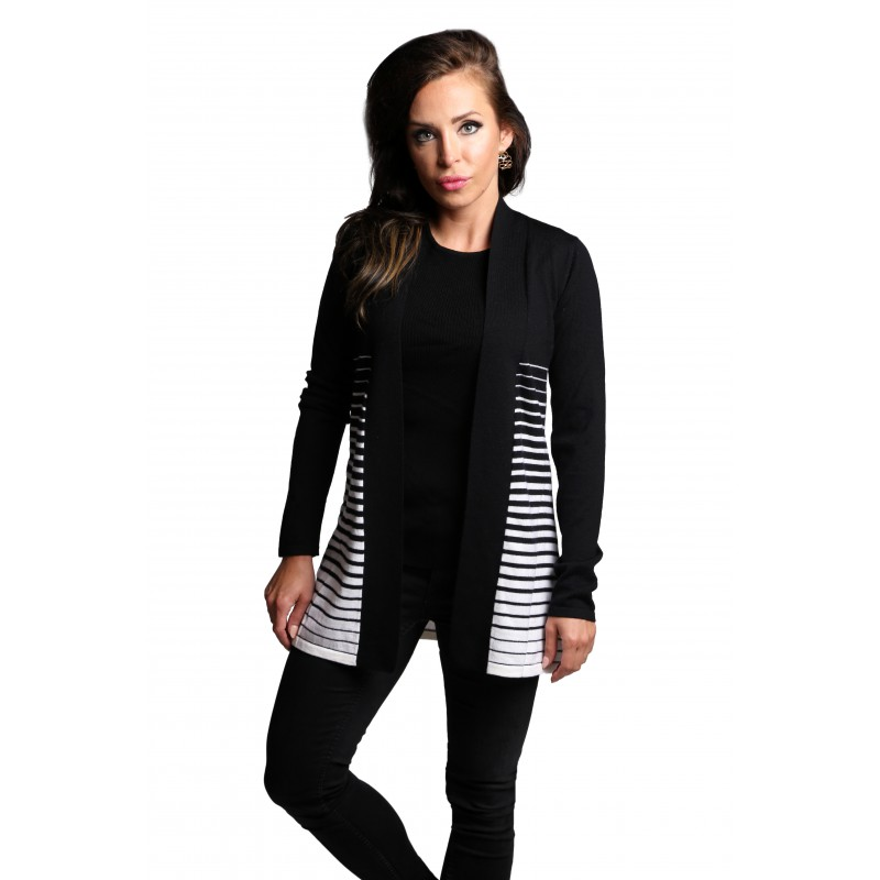100% Wool Zebra Open Cardigan