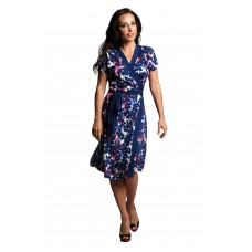 Short Sleeve Floral Wrap Dress