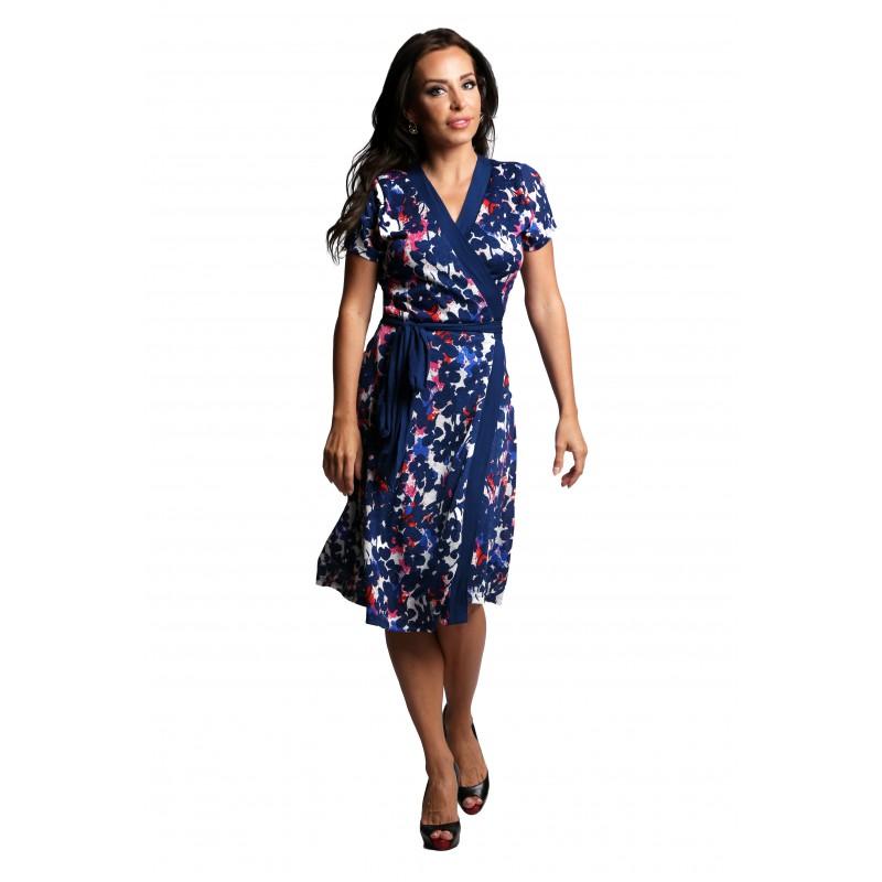 Short Sleeve Floral Wrap Dress