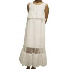 Sleeveless Cotton Eyelet Long Dress